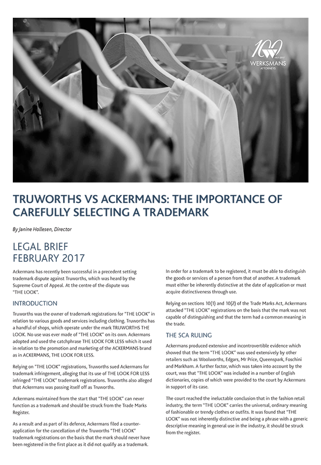 Truworths vs Ackermans the importance of carefully selecting a trademark