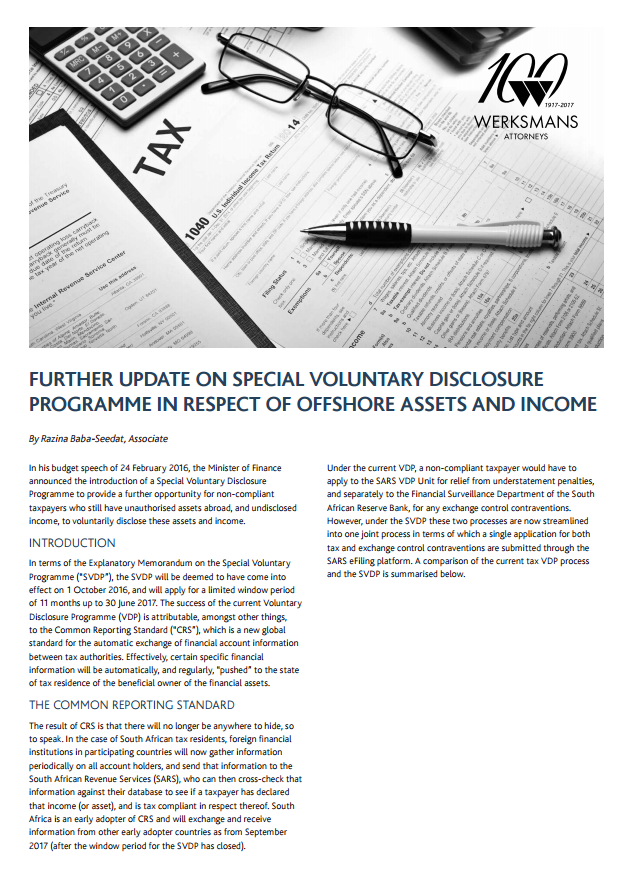 Further update on the special voluntary disclosure programme in respect of offshore assets and income