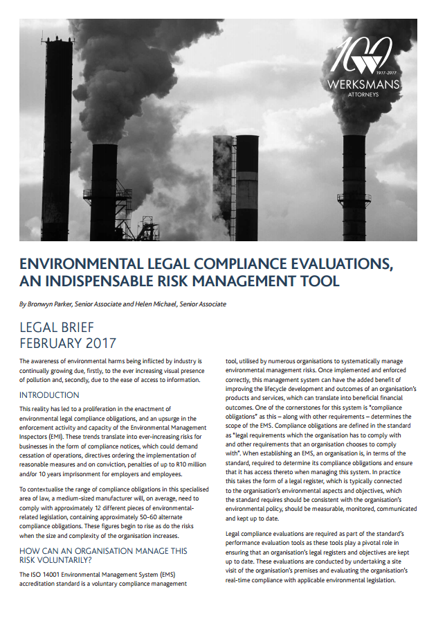 Environmental legal compliance evaluations an indispensable risk management tool