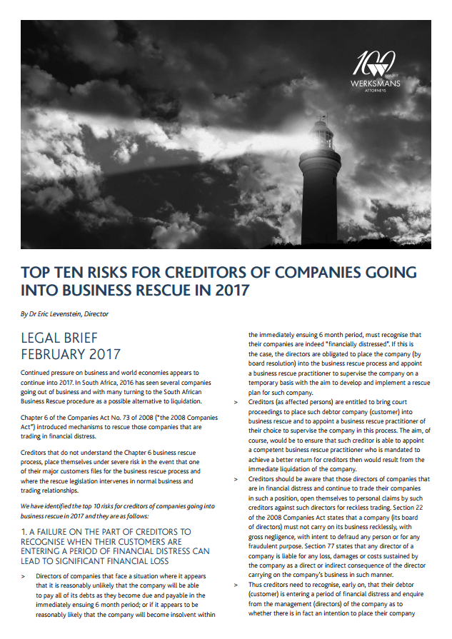 Top ten risks for creditors of companies going into business rescue in 2017
