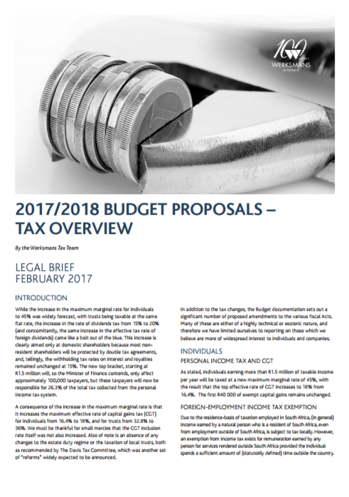 2017/2018 budge proposals Tax overview