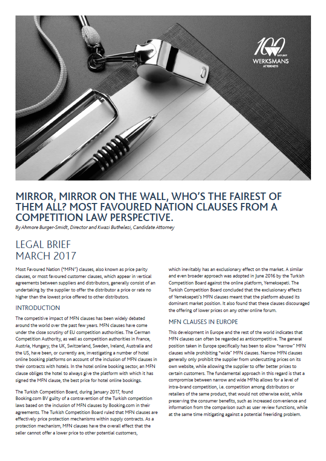 Mirror mirror on the wall whos the fairest of them all most favoured nation clauses from a competition law perspective