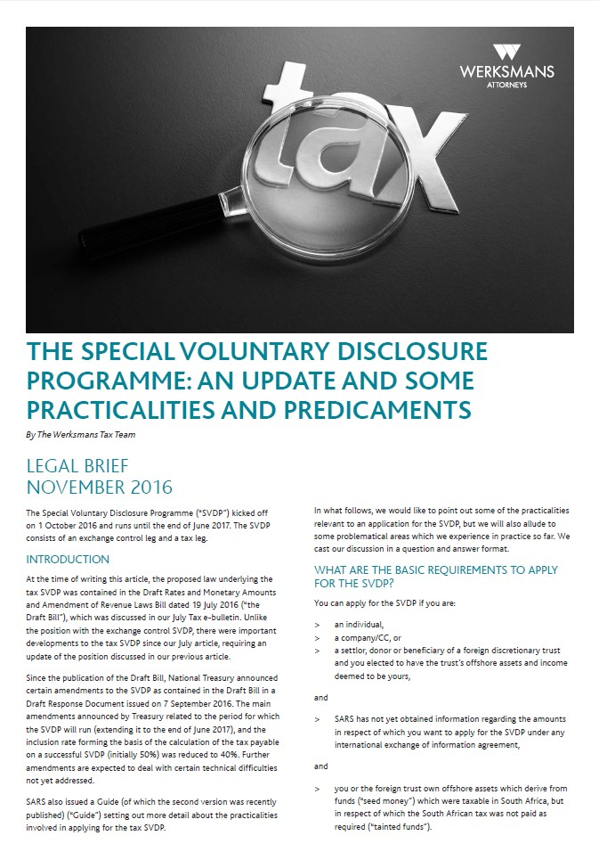 The Special Voluntary Disclosure Programme An Update And Some